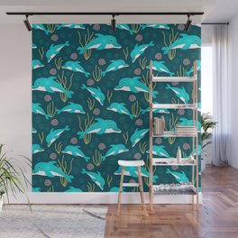 Whimsical lace dolphins in underwater wonderland Wall Mural