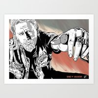 sons of anarchy Art Prints featuring Sons of Anarchy - Jax by Averagejoeart