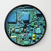 technology Wall Clocks featuring Crowded Technology  by mark jones