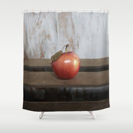 Apple on a Vintage Crate Shower Curtain