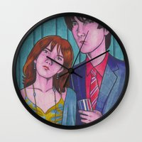 hermione Wall Clocks featuring Party Hard (Neville and Hermione) by Anna Gogoleva