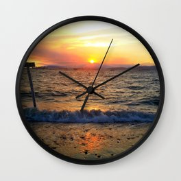 WAVES AT SUNSET Wall Clock