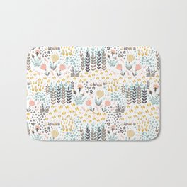 Little colored leaves and flowers Bath Mat
