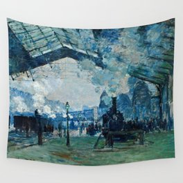 Claude Monet - Arrival Of The Normandy Train, Gare Saint Lazare Wall Tapestry