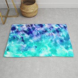 modern boho blue turquoise watercolor mermaid tie dye pattern Rug