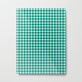 Magic Mint Green and Teal Green Diamonds Metal Print