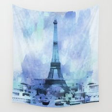 Blue Eifel Tower Paris France abstract painting Wall Tapestry