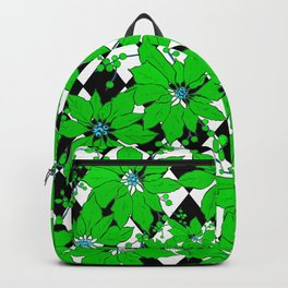 POINSETTIAS AND HARLEQUINS GREEN AND BLACK Backpack