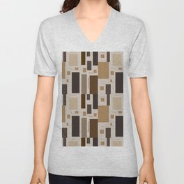 Retro Squares in Browns and Golds Unisex V-Neck