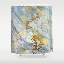 Lovely Marble with Gold Overlay Shower Curtain