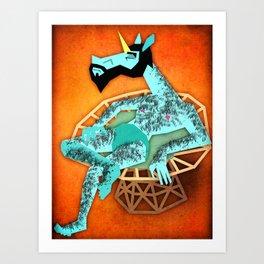 Cooling Off Unicorn Art Print