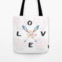 Watercolor Roses Arrows Love Typography Tote Bag