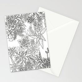 Succulent doodle - black + white Stationery Cards