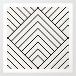 Diamond Series Pyramid Charcoal on White Art Print