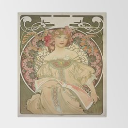 Vintage poster - Woman with flowers Throw Blanket