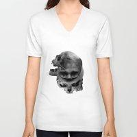 skulls V-neck T-shirts featuring Skulls by TattoosandartbyJared