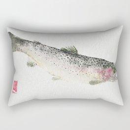 Rainbow Trout Dive - Gyotaku Rectangular Pillow