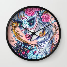 Pink Victorian Queen of Hearts wearing roses in Sugar Skull Make up for Day of the Dead Festival Wall Clock