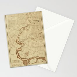 Map of Philadelphia 1892 Stationery Cards