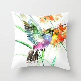 Hummignbird and Flowers Throw Pillow