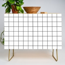 Grid Simple Line White Minimalist Credenza