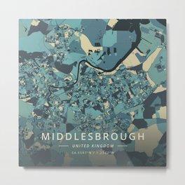Middlesbrough, United Kingdom - Cream Blue Metal Print