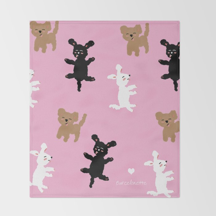 POODLE PARTY Throw Blanket