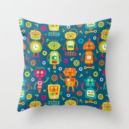 Blue Green Retro Robot Kids Pattern Throw Pillow