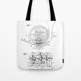 French Horn Patent - Horn Player Art - Black And White Tote Bag