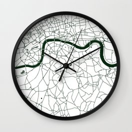 London White on Green Street Map Wall Clock