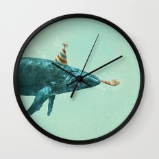 Party Whale - colour option  Wall Clock