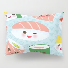 pattern Kawaii funny sushi rolls set with pink cheeks and big eyes, emoji Pillow Sham