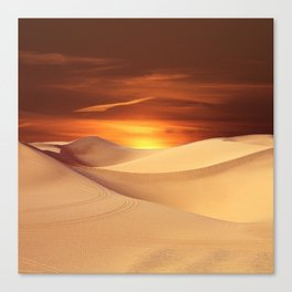 The Sunset On Desert Canvas Print