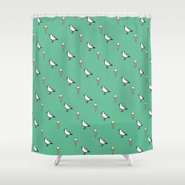 Seagulls & Ice-cream Print Shower Curtain