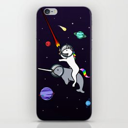 Unicorn Riding Narwhal In Space iPhone Skin