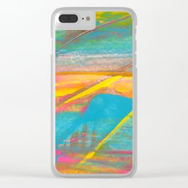 Rainbow and Gold Bold Abstract Painting Clear iPhone Case
