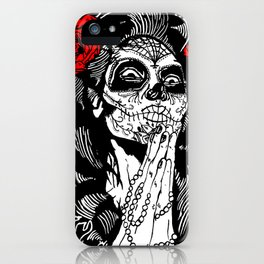 Girl With Sugar Skull, Day of the Dead iPhone Case