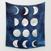 moon phases Wall Tapestries featuring Moon phases by Bridget Davidson