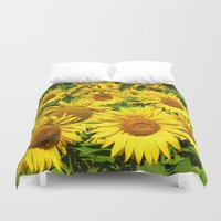 sunflowers Duvet Covers featuring Sunflowers. by Assiyam