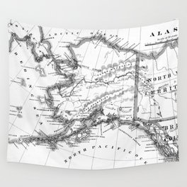 Vintage Map of Alaska (1883) BW Wall Tapestry