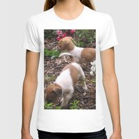 puppies T-shirts featuring Puppies In The Garden by Samantha Georga