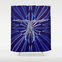 3709s-DEW_4818 Blue Nude Handstand Split Yoga Empowered Fine Art Shower Curtain