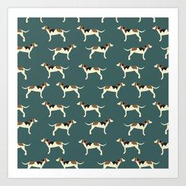 Tree Walker Coonhounds in Green Art Print