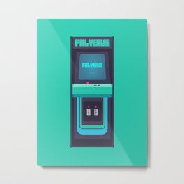 Polybius Arcade Game Machine Cabinet - Front Green Metal Print