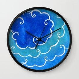 Silver linings on blue Wall Clock
