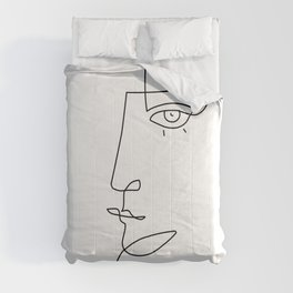 Abstract Face - Line Art Comforters