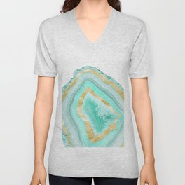 Agate Gold Foil Glam #2 #gem #decor #art #society6 Unisex V-Neck