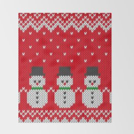 Knitted snowman pattern Throw Blanket