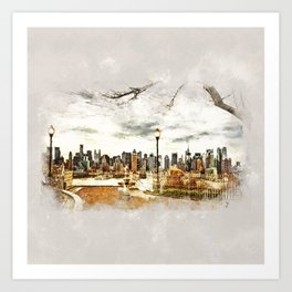 New York City - mixed media Art Print