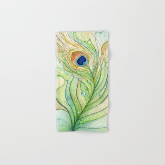 Green Watercolor Peacock Feather and Bubbles Hand & Bath Towel
